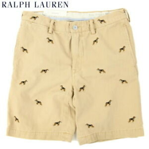 Polo Ralph Lauren Men's Chino Shorts Short Pants with dogs Tan - Size 38