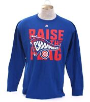 Majestic MLB Chicago Cubs Blue 2016 National League Champions T Tee Shirt Men's