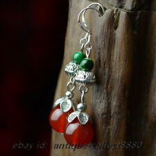 Lotus Flower Earrings Ear Stud Pair National Style Red Agate Beads/Miao Silver