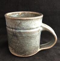 Studio Art Pottery Stoneware Coffee Mug Cup Blue Gray Signed Larsons 1992