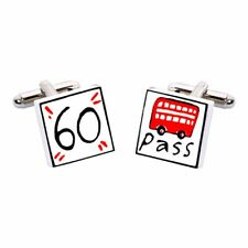 60 Bus Pass Cufflinks by Sonia Spencer, Pension, Pensioner, RRP £20