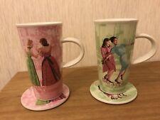COPPIA Rosanna NEW YORK PARIGI Latte Macchiato tazze da caffè tazze e sottobicchieri x 2 due in buonissima condizione