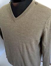 Club Room Sweater Pullover Men Sz S Merino Wool V-Neck Beige Thin Casual Nice