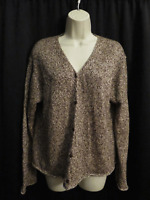 Eileen Fisher Cardigan Sweater Brown Ivory Knit Linen Cotton Blend Size L Large