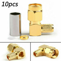 10Pcs SMA Male Plug Right Angle Pin Crimp per RG58 RG142 RG400 LMR195 Cavo RF