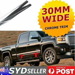 30mm Width Chrome Mouldings Trim Car Side Doors Cladding Body Protect Strip 10M