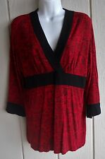 Womens S Hot Cotton Pullover 5% Stretch 3/4 Sleeve Empire Waist Knit Top Bust 37