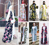 Abaya Dubai Muslim Women Open Front Cardigan Flower Printed Islamic Long Dress