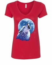 Call of the Wild Women's V-Neck T-Shirt Lone Wolf Howling at the Moon Wildlife