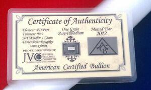 ACB SOLID Palladium BAR BULLION 1GRAIN 999 Pure WITH Certificate|........