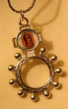 Lovely Shiny Silvertone Our Lady Guadalupe Finger Rosary Medal Pendant Necklace