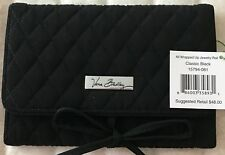NWT $48 Vera Bradley Travel Jewelry Roll Case Black