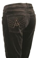 """7 For All Mankind Brown Solid Print Velour Soft Boot Cut Pants Womens Size 34"""""""