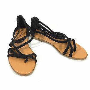 Me Too Womens Sandal Size 8.5 Black Suede Braided Strap Slip On & Zip Flats