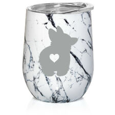 Marble Stemless Wine Tumbler Coffee Travel Mug Cup Glass Corgi Butt