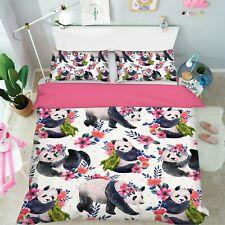 3D Flower Wreath Panda R719 Animal Bed Pillowcases Quilt Duvet Cover Queen Kay