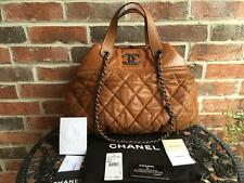 AUTH CHANEL BROWN QUILTED IN-THE-MIX SATCHEL TOTE/sold out/Celebrity's favorite
