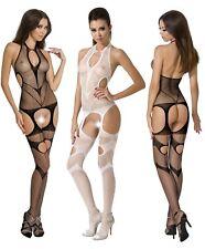 Netz Body Stocking Catsuit Stretch Einteiler PE Reizwäsche Weiß Schwarz S M L
