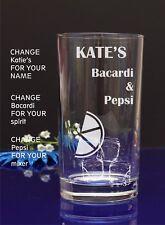 Personalised Engraved BACARDI AND PEPSI Hi ball mixer glass Birthday Christmas20