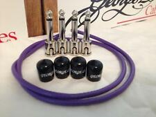 George L's 2 FT Patch Cable Kit Nickel Right Angle w/ 4x Plugs 4x Jacket Purple