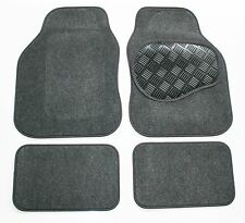 Grey Velour Carpet Car Mats - Rubber Heel Pad for Mercedes E Class (W210) 96-03