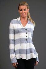 NIP FREE PEOPLE Anthropologie Striped Raw Seam Sweater Knit Button Cardigan XS