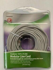 RadioShack 50 ft. Telephone Modular Line Cord RJ-11/RJ-14 279-345 Gray