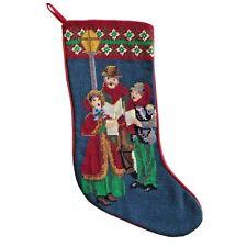 Christmas Stocking Needlepoint Petit Point Hand Stitch Wool Victorian Carolers