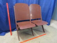 Antique Vintage Wooden Folding Double Chair Theater Stadium Auditorium Seat