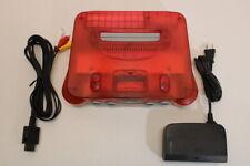 NINTENDO 64 Clear Red x White Console & AC AV Bundle N64 PLAY US & JAPAN J742
