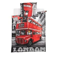 Set Bett LONDRA London Bus Bettbezug 140x200cm Kissenbezug Baumwolle Original