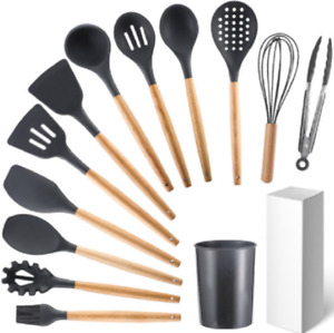 12pcs BPA Free Silicone Utensils Wooden Handle Cooking Kitchen Baking Cookware