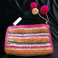 Charming Charlie MOROCCAN MUSE Colorful Straw Woven Handbag w Pom Pom, Multi $22