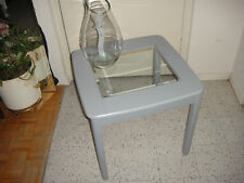 Lt Gray Wood Coffee / End Table w Inserted Glass Top
