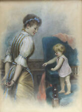 William Joseph Carroll (British, 19th/20th C) Watercolor Painting Mother & Baby