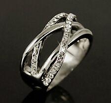 White Gold p Lab Diamond Cross Wide Band Fashion Ring Wedding Party Sz 5 6 7 8