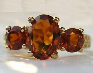 3-Stone Madeira Citrine 14k Yellow Gold Ring w/Appraisal, gold,Amber, Sherry Red