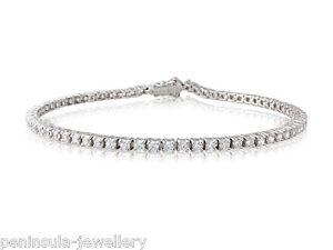 "Sterling Silver CZ Tennis Bracelet Ladies 7.5"" Gift Boxed"