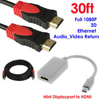 Mini DisplayPort to HDMI Video Adapter+Ultra 30ft HDMI Cable,Ethernet,3D,Audio