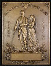 """Antique French Bronze Plaque """"Aux Dames de La Croix Rouge"""" 1916 Soldier Nurse"""