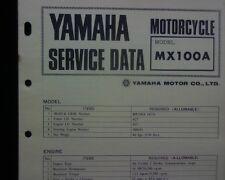1973-74 Yamaha MX100A, MX100 Service Data specification booklet, Workshop manual
