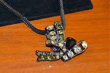 NIB $237 ROCO Rodrigo Otazu Gunmetal Chain Multi Gem Crystals Pendant Necklace