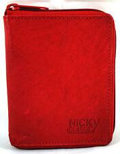Geldbörse Portemonnaie Echt Leder Herren Damen Rot umlaufender Reißverschluss
