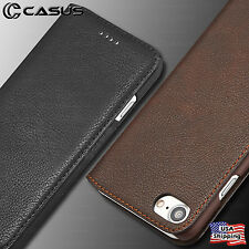 For iPhone X 8/7/6 Plus SLIM Genuine Leather Wallet Card Holder Thin Case Cover