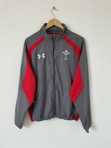 Wales Rugby Grey Under Armour Full Zip Track Top Jacket Training Gear Size XL