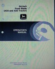 "John Deere 420 430 Diesel Lawn Garden Tractor 54"" Dozer Blade Operating Manual"