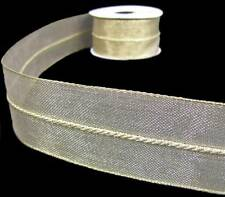 """3 Yards Metallic Gold Twisted Rope Center Christmas Wired Ribbon 1 1/2""""W"""