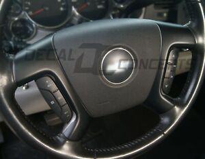 (07-13) Silverado Tahoe FULL Flat Black Steering Wheel Spoke Overlay Decal Matte