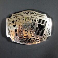 Vintage Western Belt Buckle Poker Gambling Playing Cards Royal Flush Hearts ADM