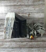 Nintendo Wii Black Console Bundle With Remote, Cords, 4 Games RVL-001